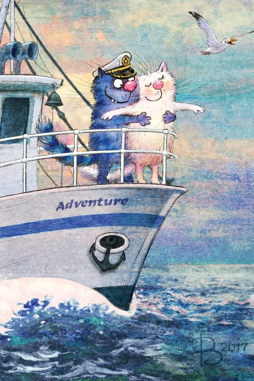 Wall art of blue cat and white cat on a boat by new icanvas artist Rina Zeniuk