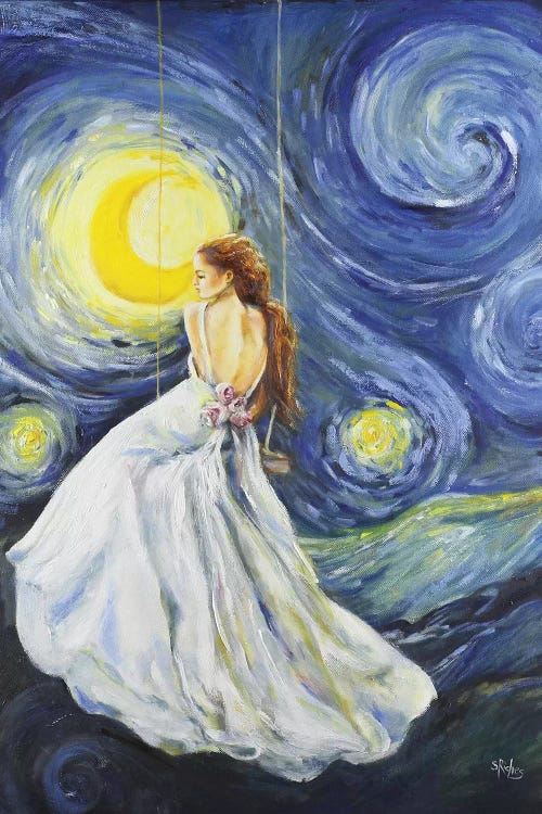 Classic art print of Van Gogh's Starry Night reimagined with woman with long hair in white dress by iCanvas artist Sara Riches