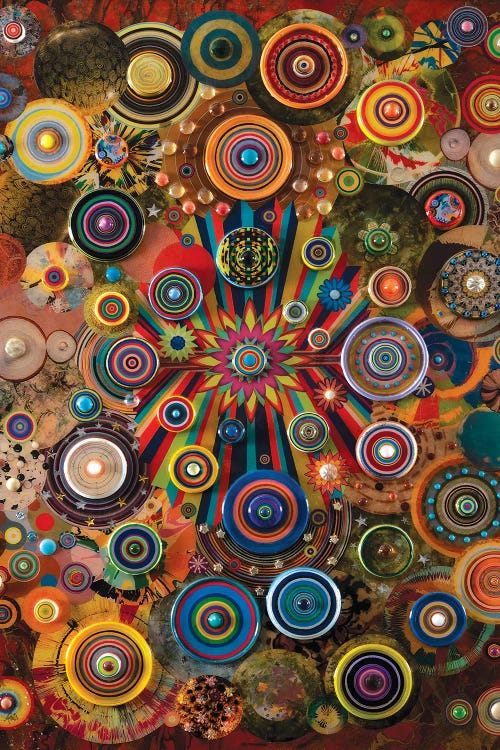 Classical art reimagined of Kandinsky's circles with gears and levers creating fireworks by iCanvas artist Robert Swedroe