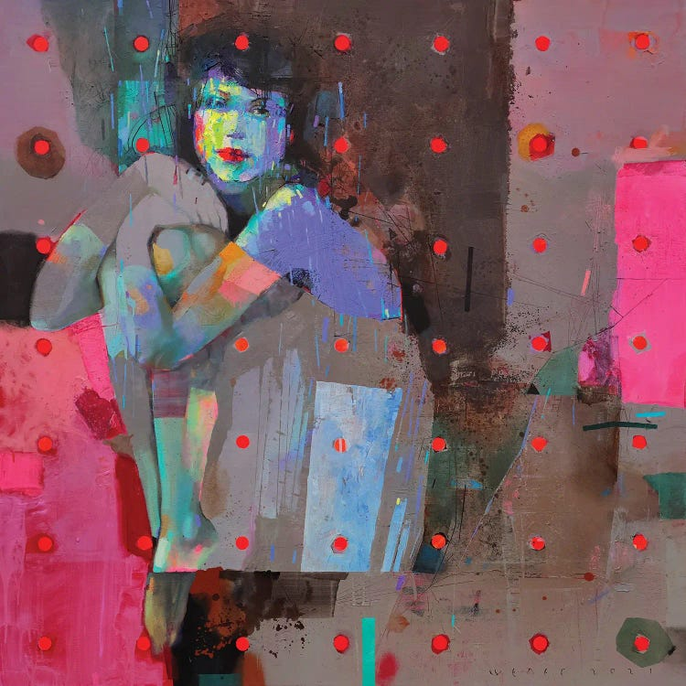 Modern classic art of reimagined version of Picasso's Blue Nude with pink dots and vibrant colors by iCanvas artist Viktor Sheleg