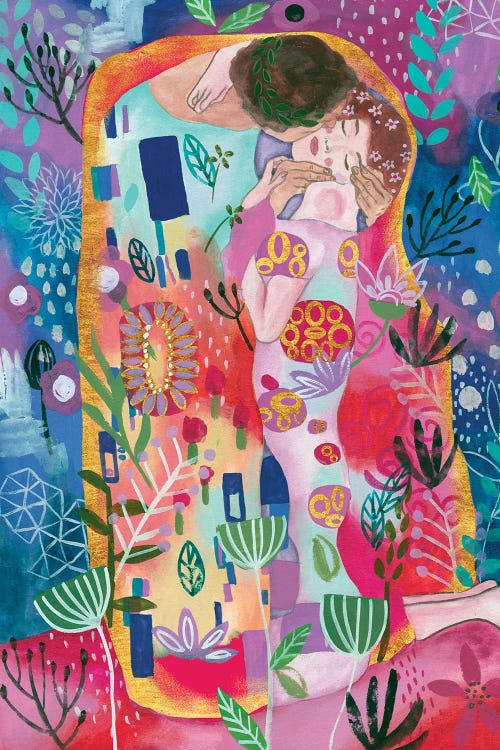 Classical art of Gustav Klimt's The Kiss reimagined with vibrant colors by iCanvas artist Melissa Wang