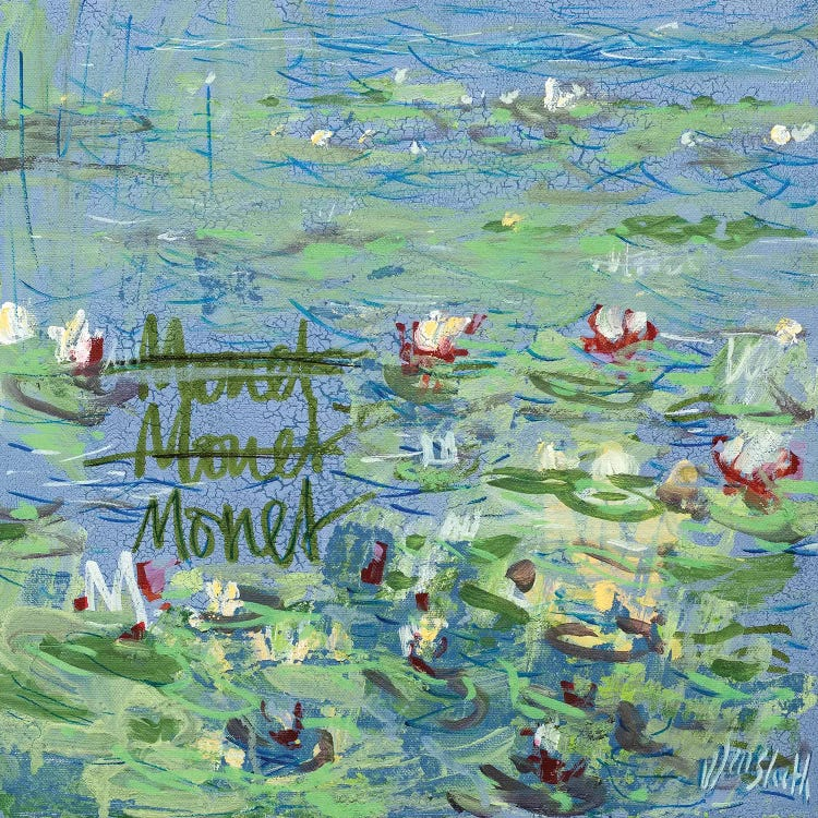 """Classic art print of monet's water lilies reimagined with scribbles and """"Monet"""" written in water by Wayne Sleeth"""