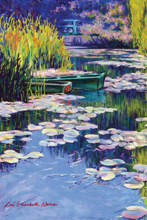 Classic art print of Monet's Water Lilies reimagined to feature moored boats by iCanvas artist Zoe Elizabeth Norman