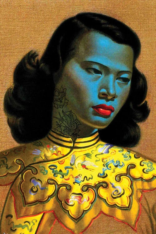 Portrait of a blue lady with tattooed neck in yellow dress by new icanvas creator Andrew M Barlow