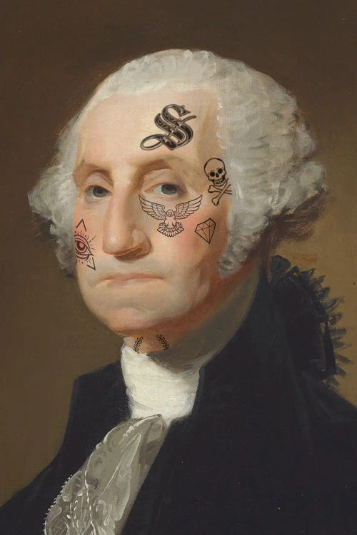 Portrait of George Washington with tattoos on face by new icanvas artist Andrew M Barlow