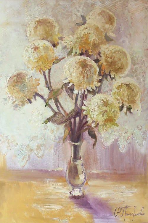 Wall art of 9 beige chrysanthemums by new creator Anastasiia Grygorieva