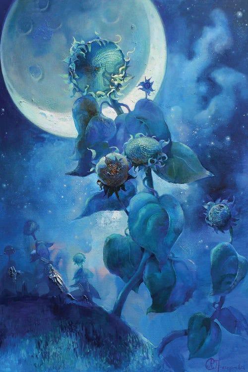 Fantasy art of blue scene featuring flower and full moon by new icanvas artist Anastasiia Grygorieva