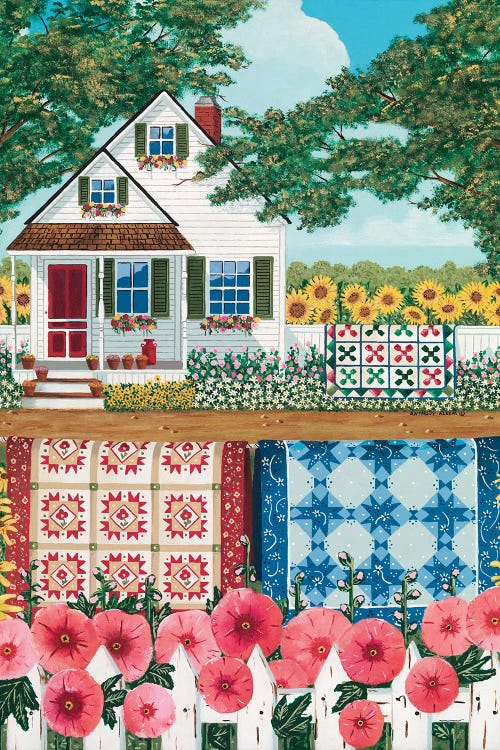 Charming wall art of white house behind quilt garden by new icanvas artist Anthony Kleem