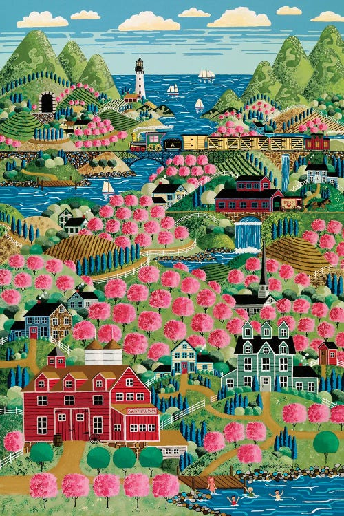 Charming art of a coastal american city with pink trees by new icanvas creator Anthony Kleem