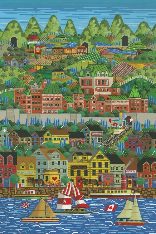Charming wall art of coastal city with rolling hills by new creator Anthony Kleem
