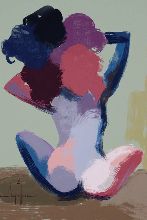 Wall art of the back of a woman with fingers in afro painted purple, pink and blue by new creator David Coleman Jr