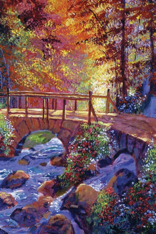 Wall art of a stone bridge over a small stream surrounded by fall trees by new creator David Lloyd Glover