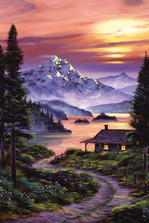 Wall art of a cabin on the lake at sunset by new icanvas creator David Lloyd Glover