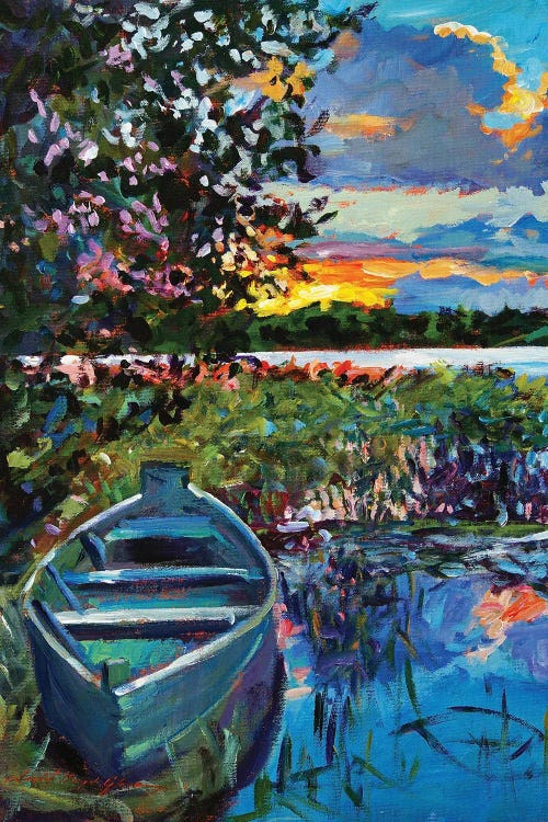 Wall art of a boat on water in front of mountain and sunset by new icanvas artist David Lloyd Glover