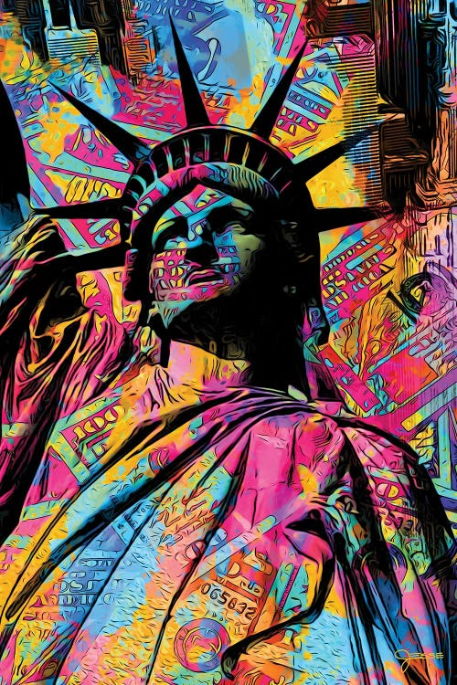 Wall art of statue of liberty covered in neon colors and cash by new creator Jesse Johnson