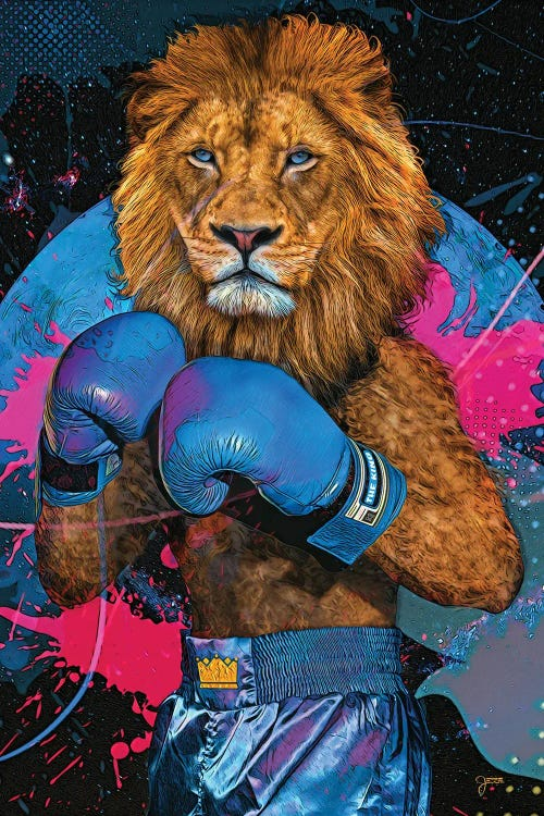 Wall art of a lion wearing blue boxing gloves against blue and pink abstract background by new icanvas artist Jesse Johnson