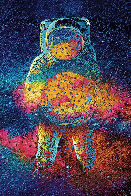 spaceman art of an astronaut surrounded by colorful abstract colors by new icanvas creator Jesse Johnson