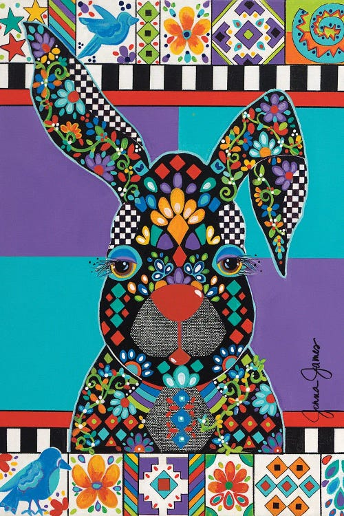 colorful wall art of rabbit with many patterns and shapes by new icanvas creator Jonna James