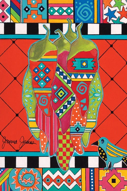 Waall art of peppers with vibrant colors and patterns by new icanvas artist Jonna James