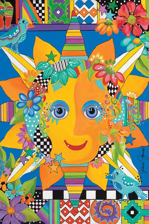 colorful art of a sun with a face by new creator Jonna James