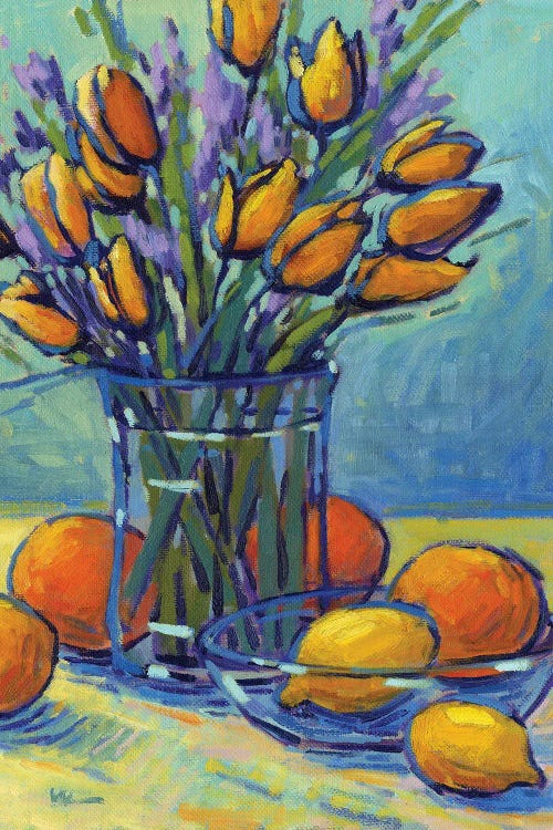 Floral wall art of a vase of tulips beside a bowl of lemons by new icanvas creator Konnie Kim