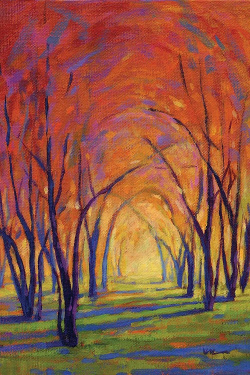Wall art of a path between trees in fall by new icanvas artist Konnie Kim