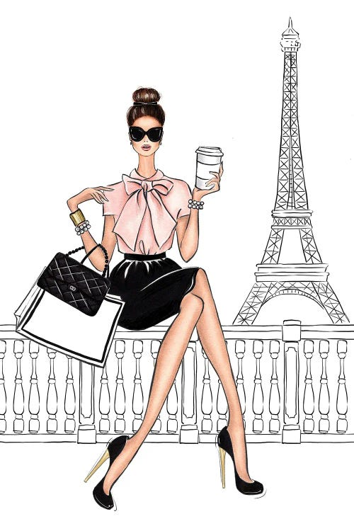 fashion illustration of a brunette woman sitting by Eiffel tower with coffee by new icanvas creator LaLana Arts