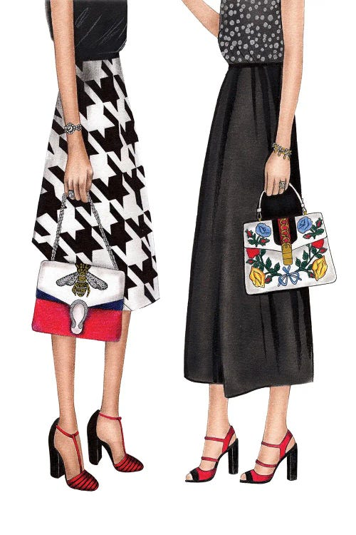 fashion illustration of bottom half of two women in skirts and heels by new icanvas creator LaLana Arts