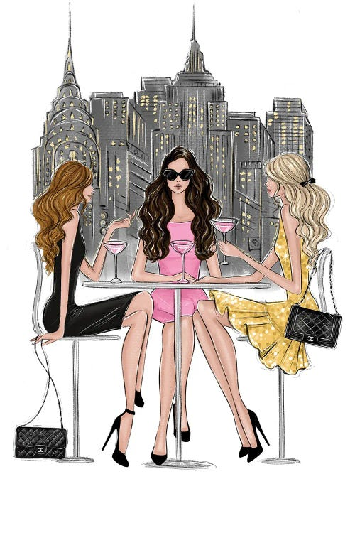 fashion illustration of three women at a bar in front of NYC skyline by new creator LaLana Arts