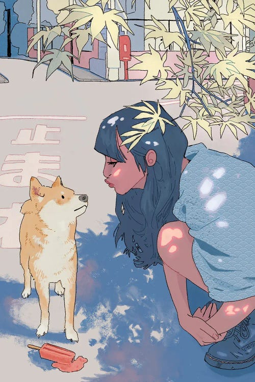 Wall art of girl with blue hair kissing shiba inu by new creator Lucy Michelle