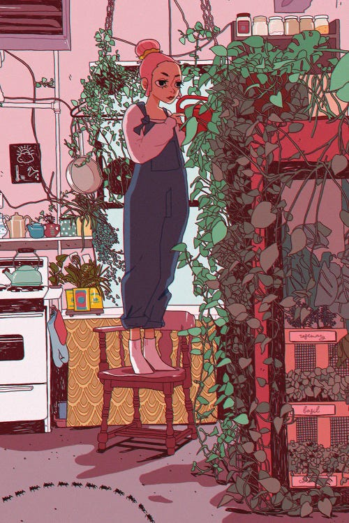 Wall art of woman on chair tending to plants by new icanvas creator Lucy Michelle