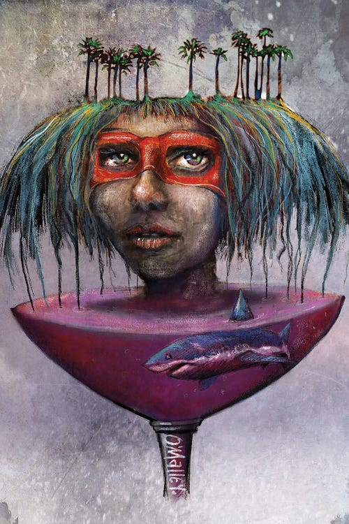 Fantasy art of woman with palm trees in hair and shark below her by new creator Leith O'Malley