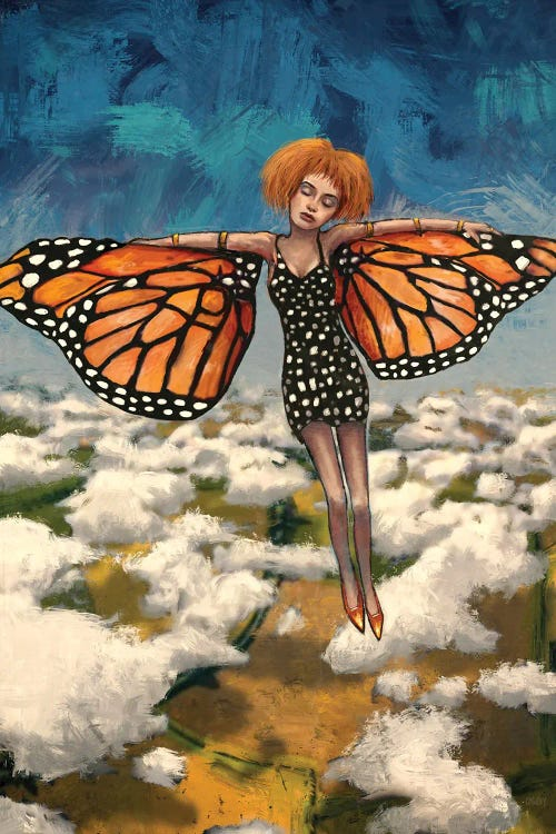 Fantasy art of woman above clouds with butterfly wings by new icanvas artist Leith O'Malley