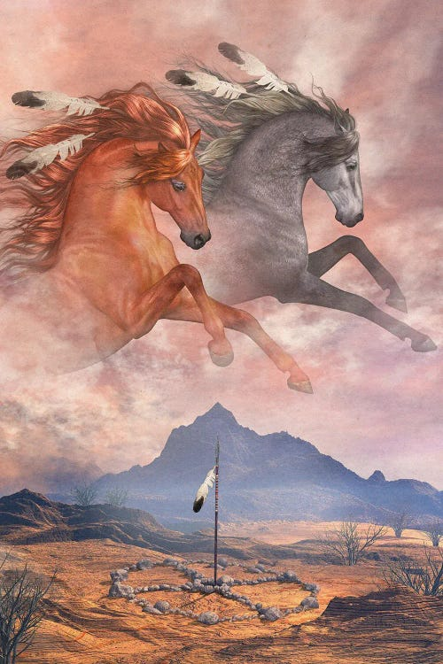 Wall art of two horses in sky above mountain by new icanvas creator Laurie Prindle