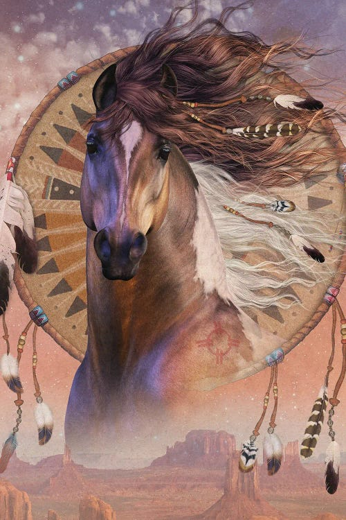 wall art of brown horse with feathers in hair in front of tribal imagery by new creator Laurie Prindle