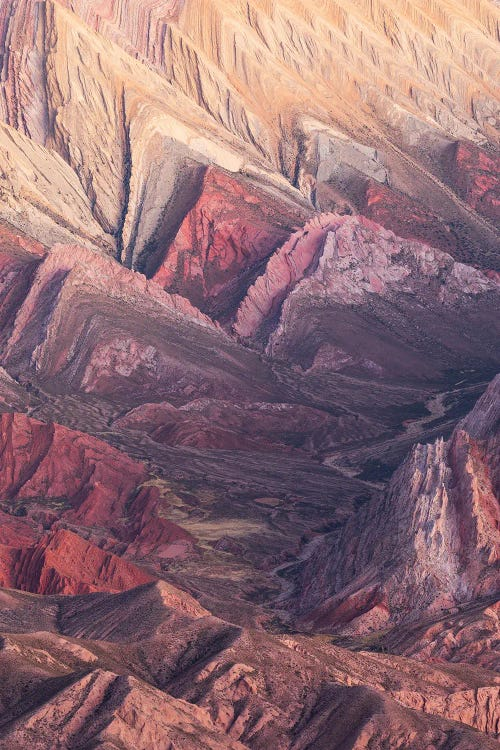 Nature photography of a closeup view at red and brown mountain peaks