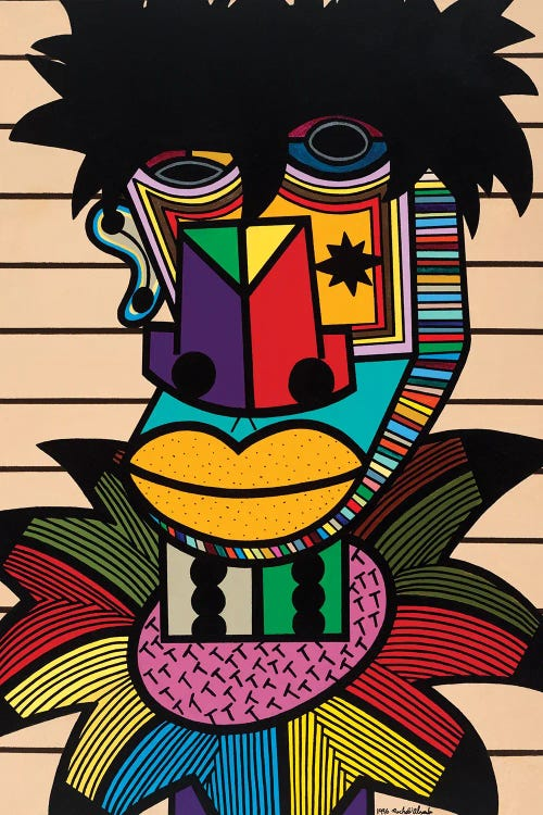 cubism wall art of a figure with colorful shapes by new creator Ruchell Alexander