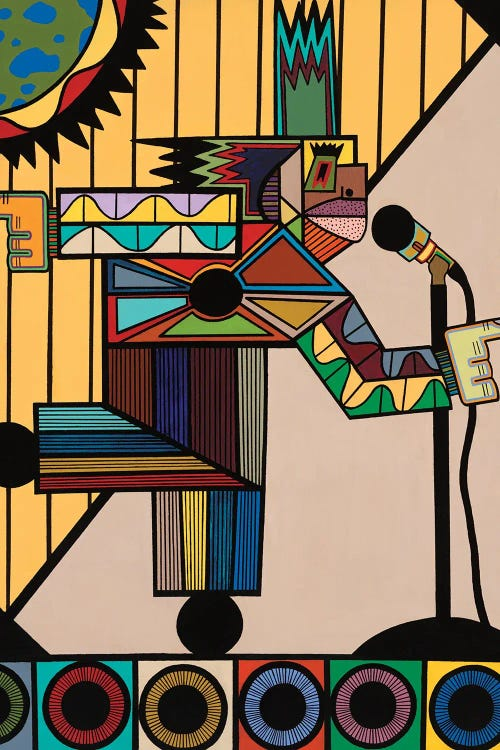 Cubism wall art featuring colorful shapes making up a figure in front of microphone by new icanvas creator Ruchell Alexander