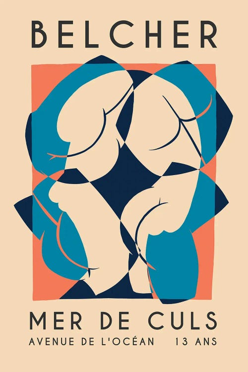 Soft poster of Belcher album with abstract butts by new icanvas artist Ross Coskrey