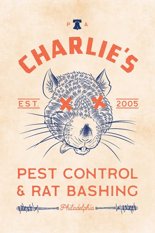 Poster of Charlie's pest control with rat on it by new icanvas artist Ross Coskrey