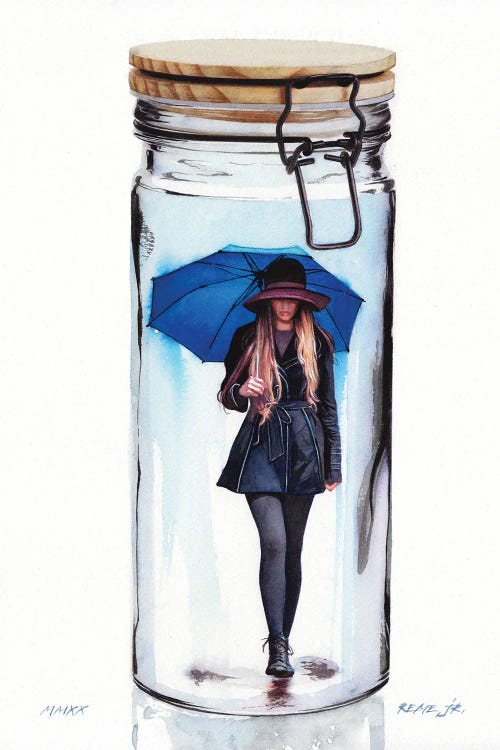 Wall art of woman with blue umbrella inside a jar by new icanvas creator REME Jr