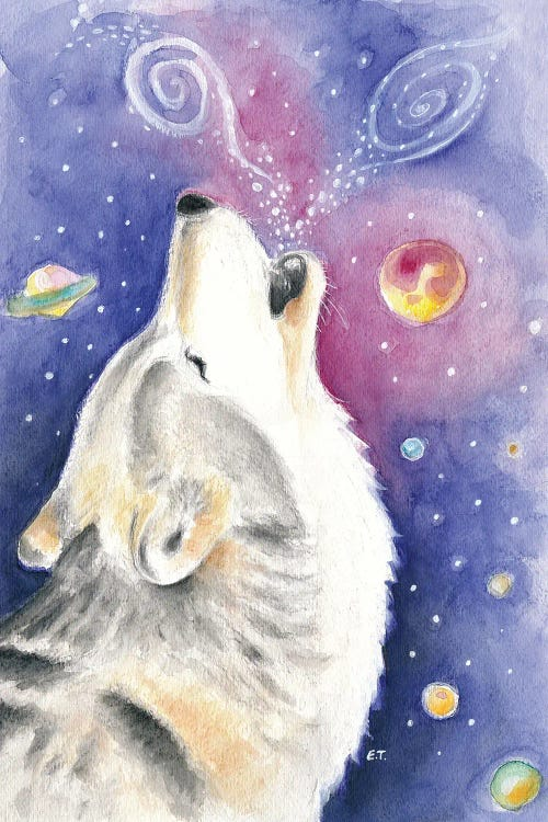 Wall art of wold howling at the cosmos by new icanvas creator Seven Sirens Studio